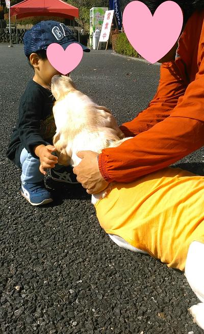 子どもの顔を舐める犬