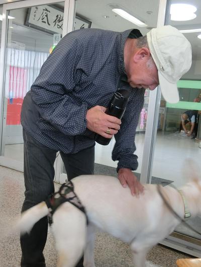 多和田さんに撫でられる犬