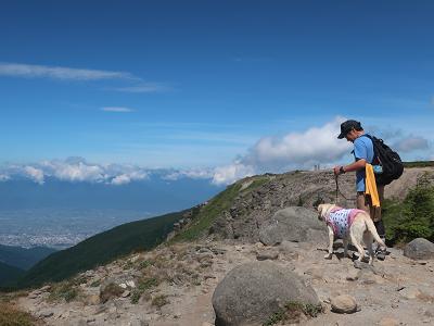 景色を見ながら登山